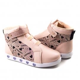 Bota Sneaker Luz Infantil Feminino Pampili - Rosa novo