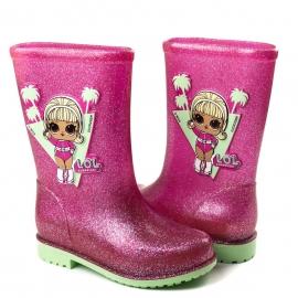 Galocha Lol Infantil Feminino Grendene - Verde/rosa glitter