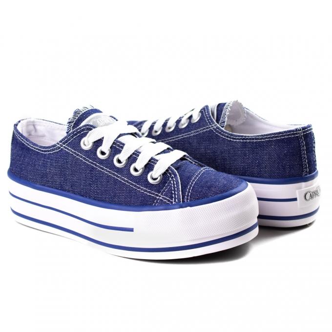 Tênis Feminino Likes Plataform Jeans Capricho - Jeans/denin