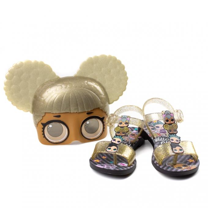 Sandália LOL Mask Infantil Feminino Grendene - Preto/vidro glitter