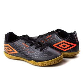 Tênis Indoor Infantil Speed IV JR Umbro - Preto/grafite/coral