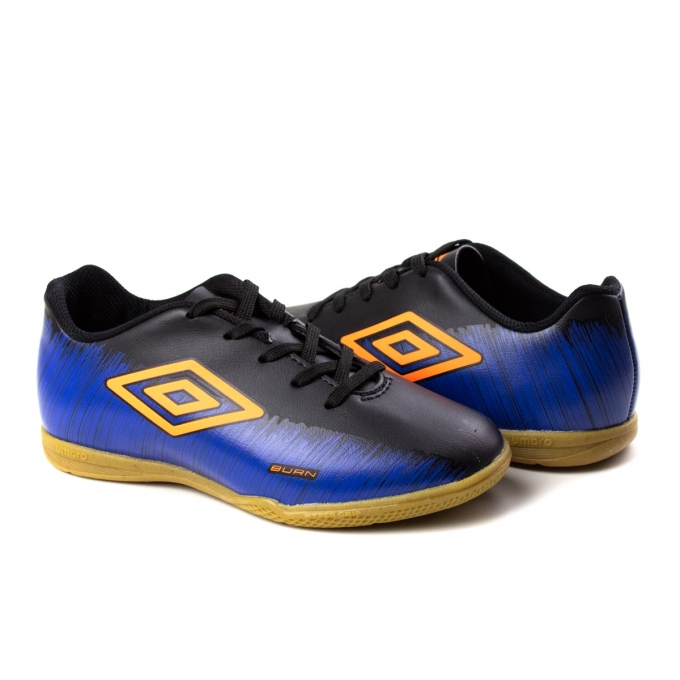 Tênis Indoor Infantil Burn JR Umbro - Preto/azul/laranja