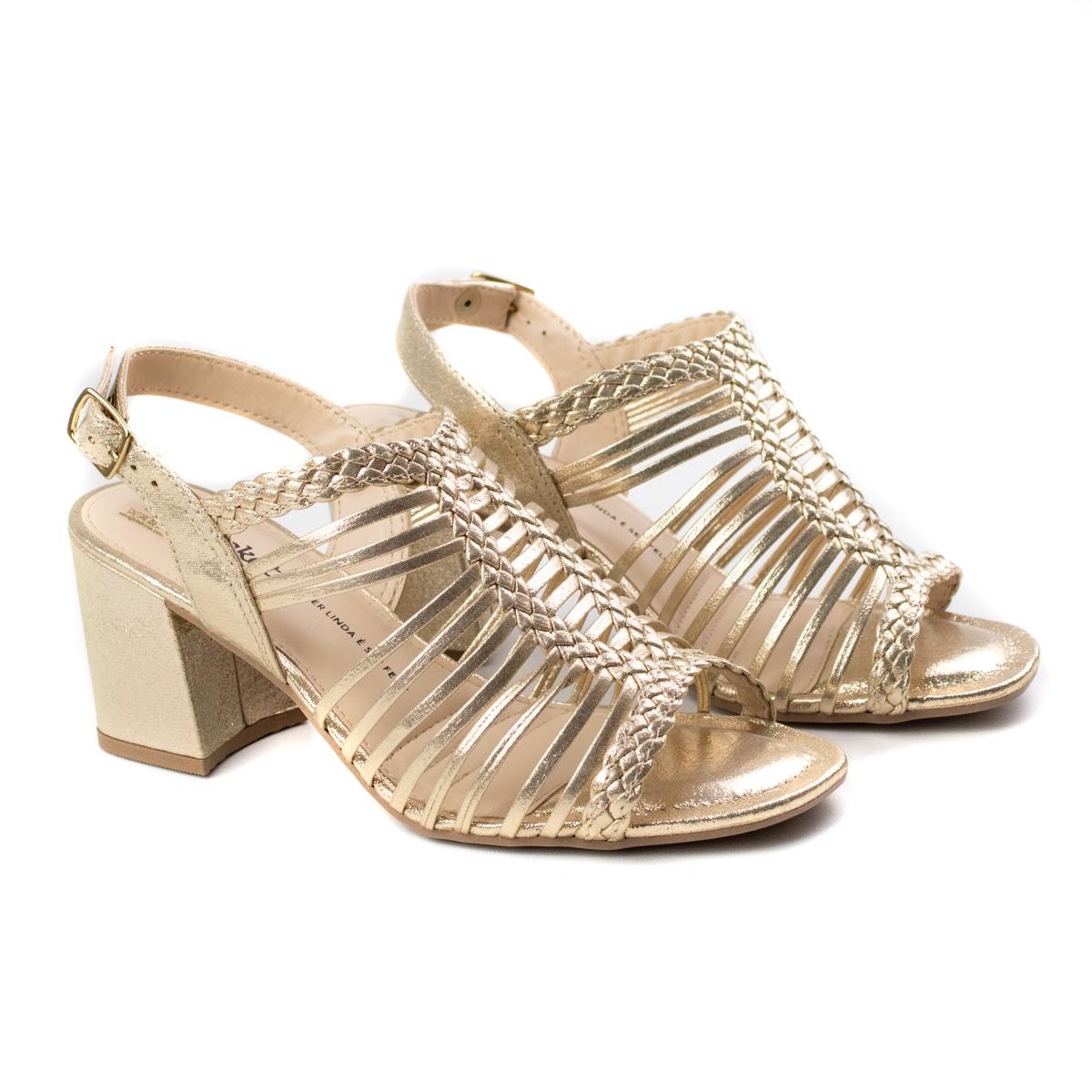 Sandália Salto Gladiadora Feminino Dakota - Champagne