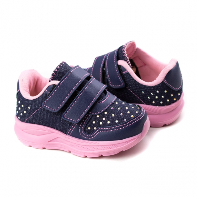 Tênis Baby Lona Feminino Krisle - Jeans escuro/rosa