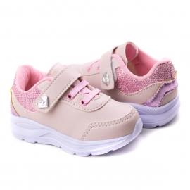 Tênis Bebê Velcro Feminino Krisle - Rosa mini/rosa