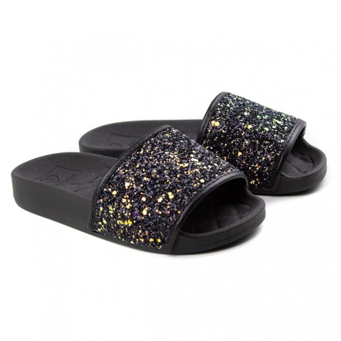 Tamanco Slide Glitter Infantil Feminino Molekinha - Preto/preto