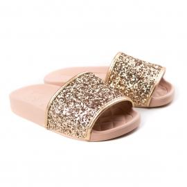 Tamanco Slide Glitter Infantil Feminino Molekinha - Multi ouro/rosado