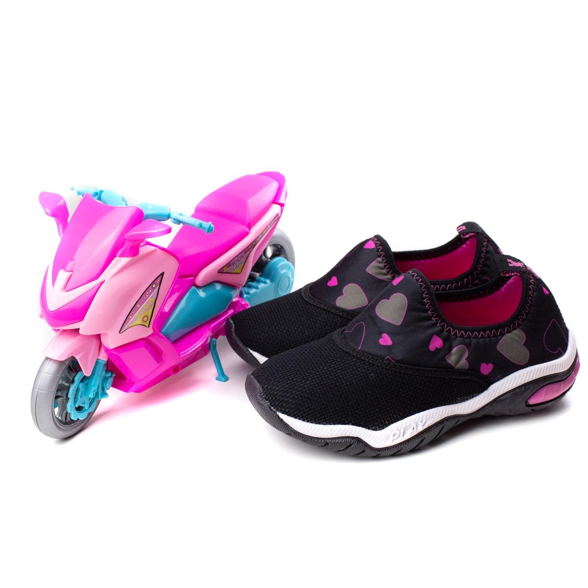 Tênis Play Infantil Feminino Kidy - Preto/pink