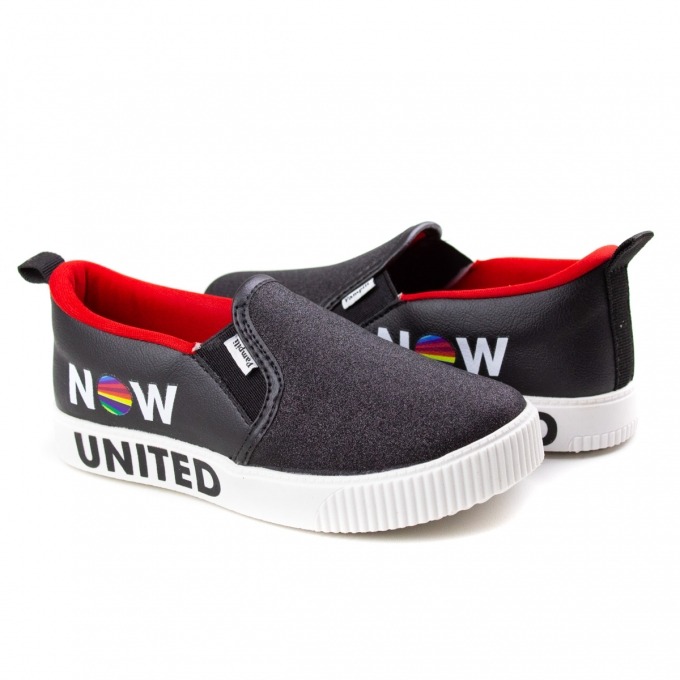 Tênis Luna Slip On Now United Infantil Feminino Pampili - Preto