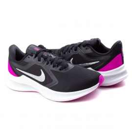 Tênis Downshifter 10 Feminino Nike - Black/metallic silver-pink
