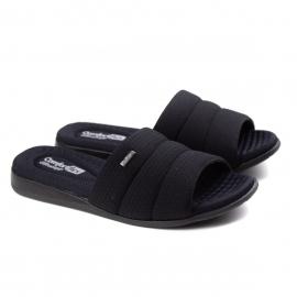 Tamanco Slide Lycra Tresse Soft Feminino Comfortflex - Preto