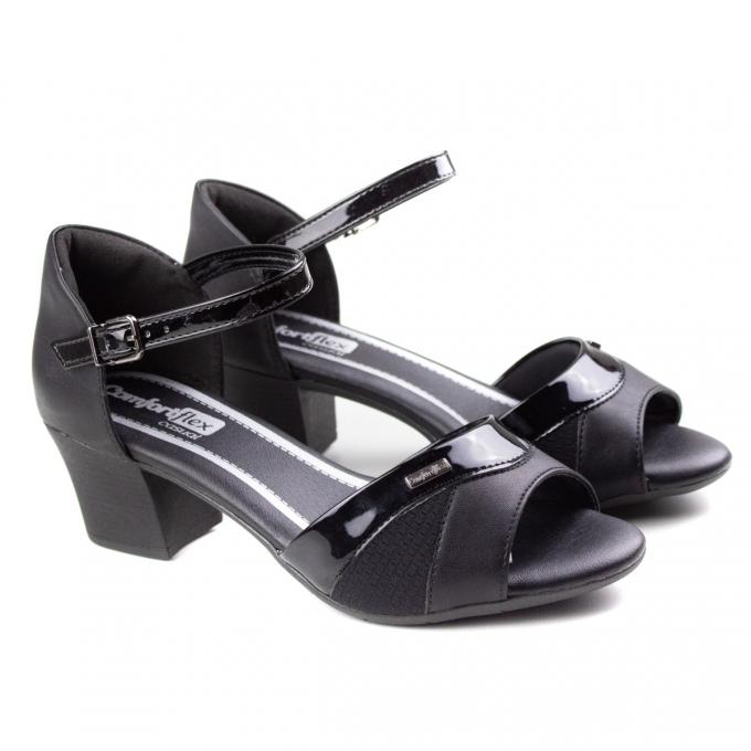 Sandália Salto Feminina Comfortflex - Preto