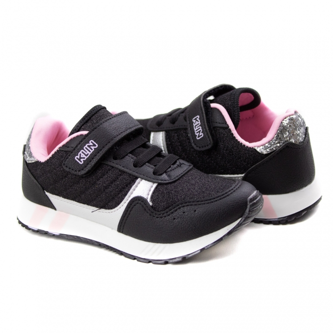 Tênis Walk Infantil Feminino Klin - Preto/rosa