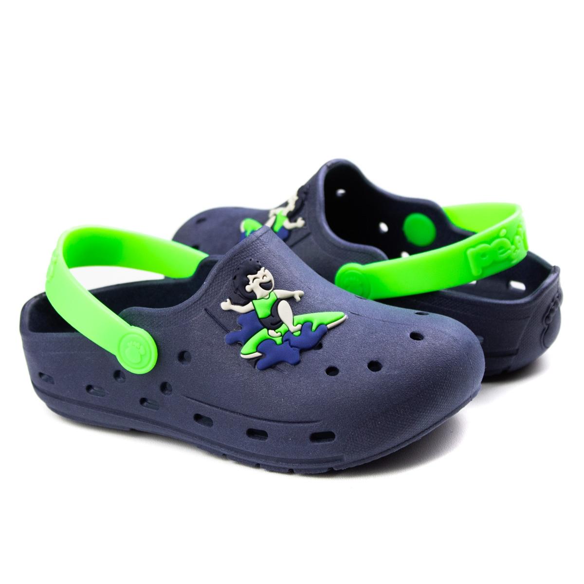 Crocs Surf Infantil Masculino Pé Com Pé - Marinho/verde