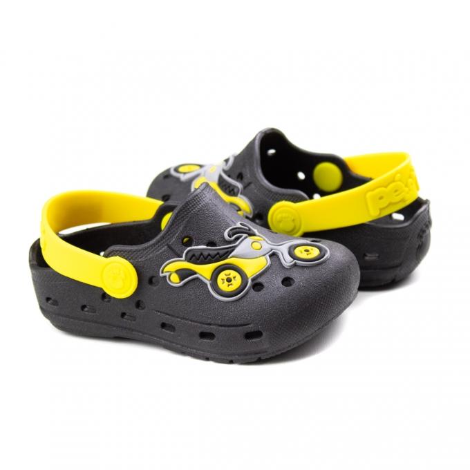 Crocs Moto Bebê Masculino Pé Com Pé - Preto/amarelo