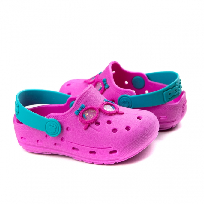 Crocs Óculos Bebê Feminino Pé Com Pé - Pink/turquesa