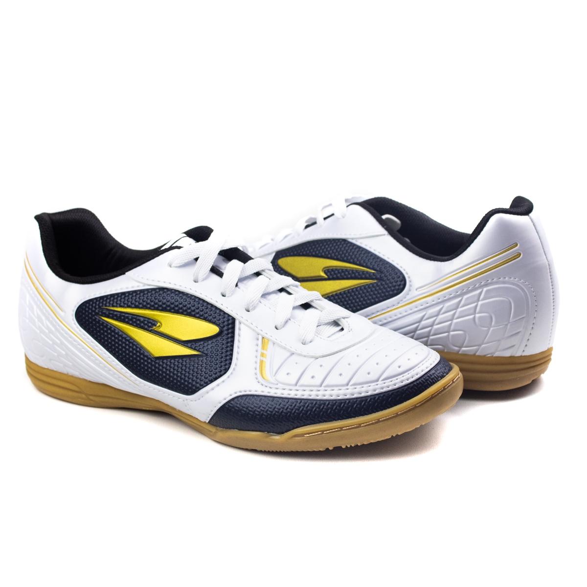 Tênis Indoor Futsal Masculino Dray - Branco/ouro