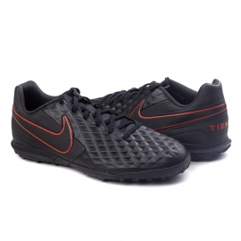Chuteira Society Tiempo Legend 8 TF Nike - Black/dk smoke grey-chile red