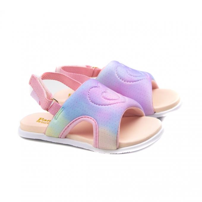 Sandália Fly Mini Bebê Feminino Pampili - Rosa glace/colorido