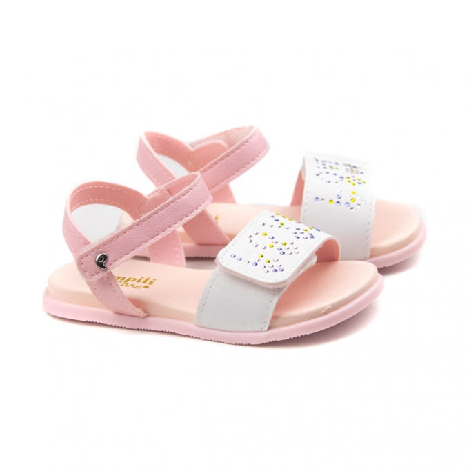 Sandália Fly Mini Bebê Feminino Pampili - Branco/rosa