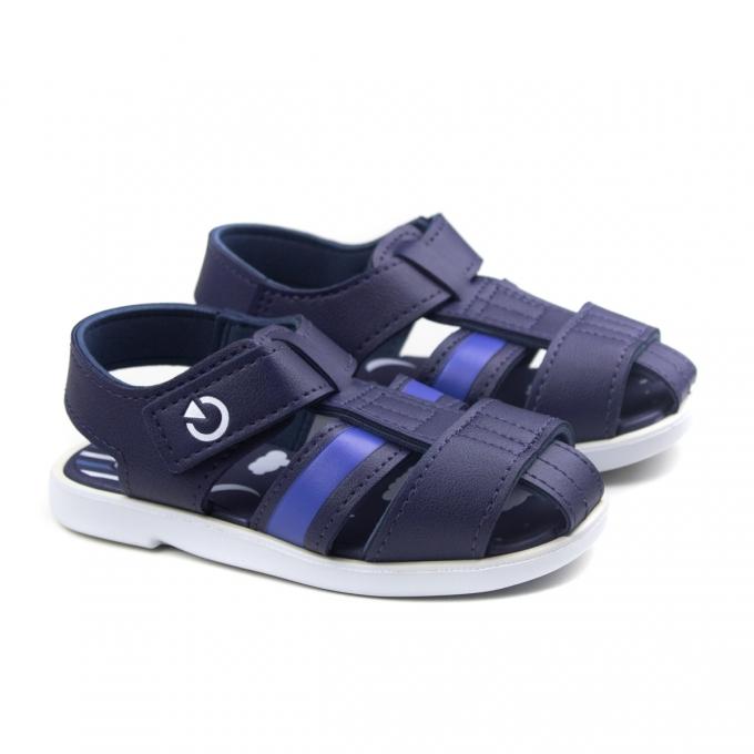 Sandália Mini Baby Masculina Cartago - Branco/azul
