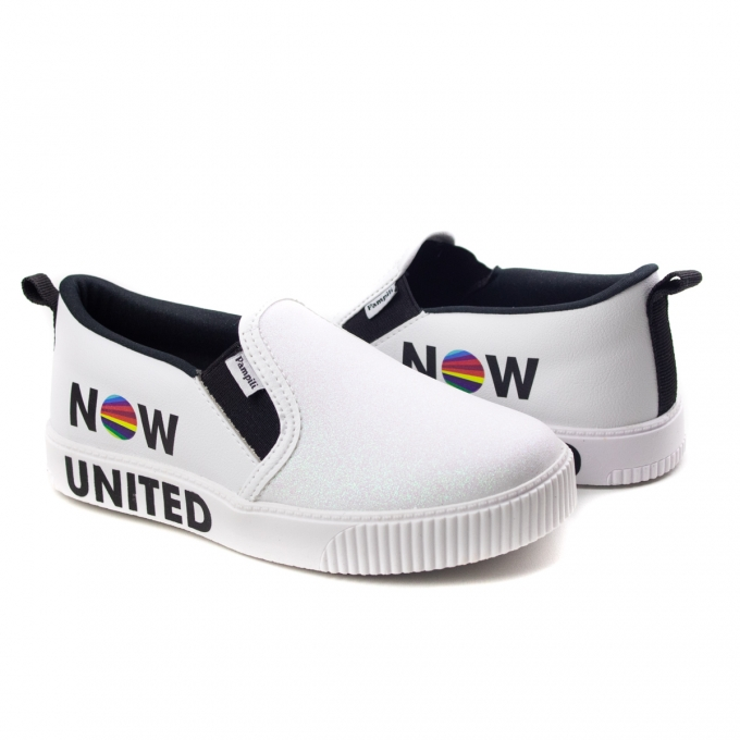 Tênis Luna Slip On Now United Infantil Feminino Pampili - Branco