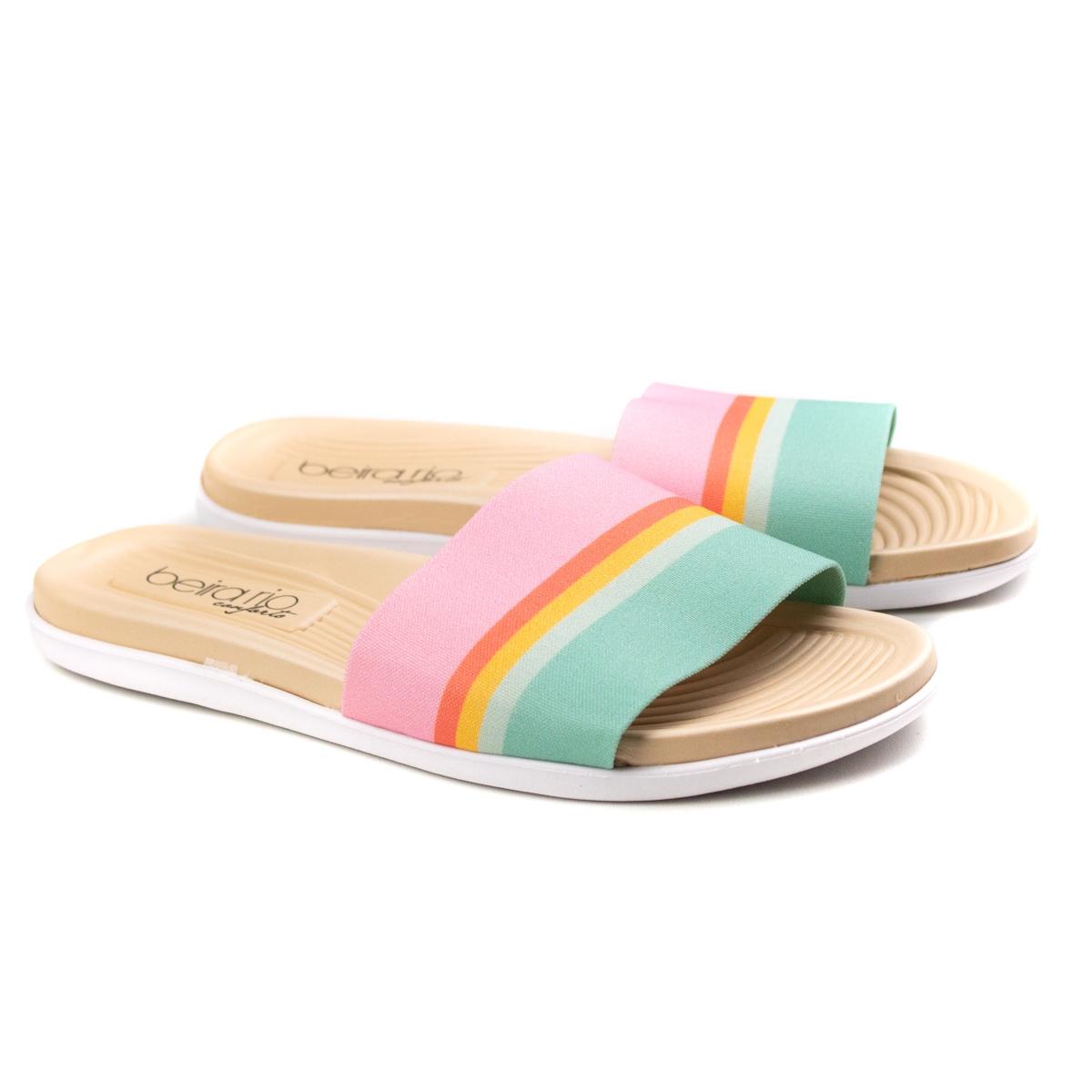 Tamanco Slide Rainbow Feminino Beira Rio - Multi rosa