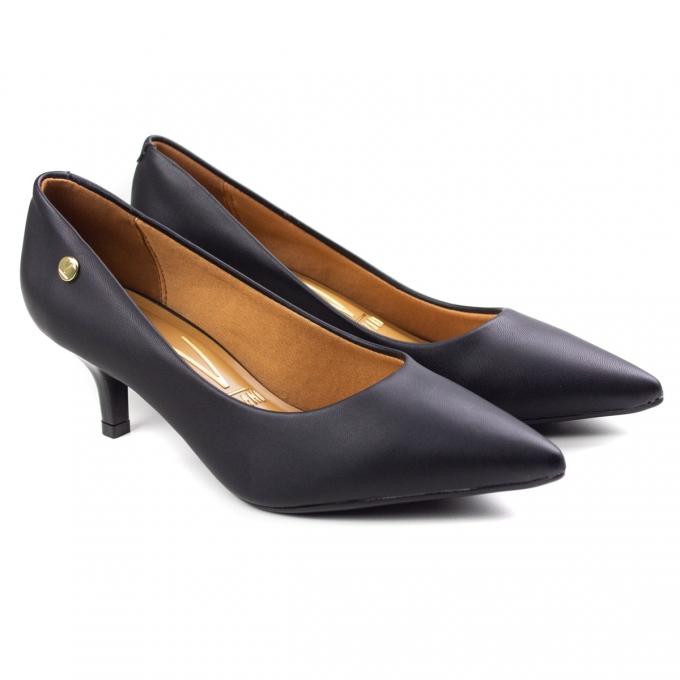 Sapato Scarpin Salto Baixo Feminino Vizzano - Preto