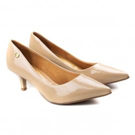 Sapato Scarpin Salto Baixo Feminino Vizzano - Bege