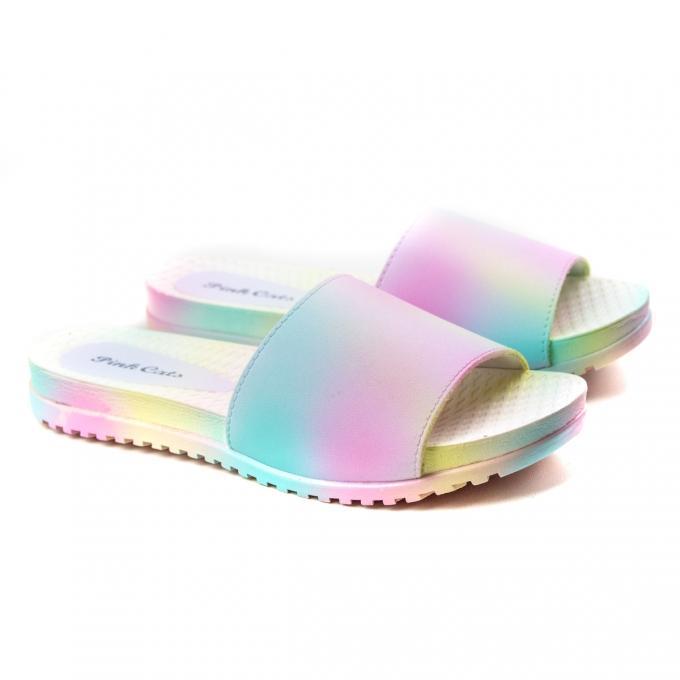 Chinelo Slide Tie Dye Infantil Feminino Pink Cats - Branco