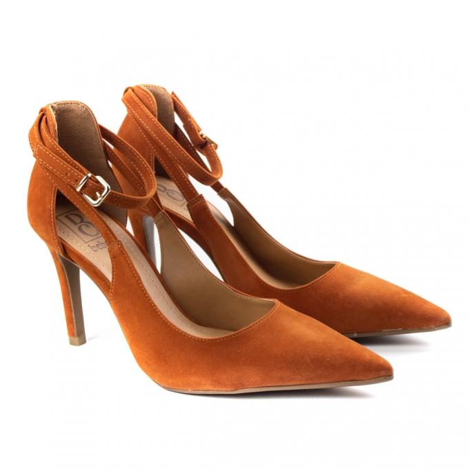 Sapato Salto Nobuck Feminino Bebecê - Terracota
