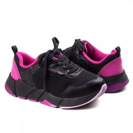 Tênis Jogging Feminino Infantil Pink Cats  - Preto/pink
