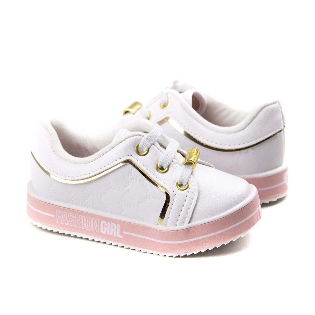 Tênis Calce Fácil Bebê Feminino Molekinha - Branco/dourado