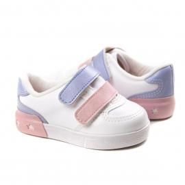 Tênis Velcro Bebê Feminino Molekinha - Branco/jeas/rosa