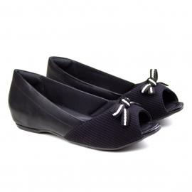 Sapato Peep Toe Feminino Comfortflex - Preto