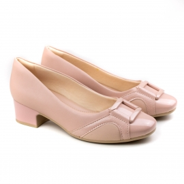 Sapato Salto Baixo Feminino Comfortflex - Biscuit