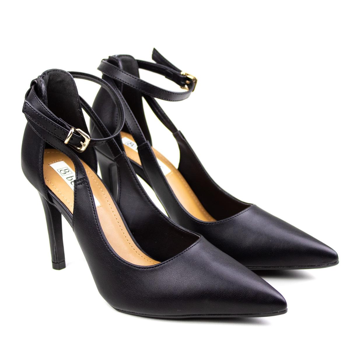 Sapato Salto Napa Feminino Bebecê - Preto - Preto