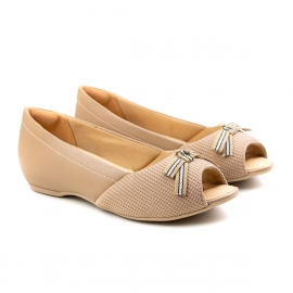 Sapato Peep Toe Feminino Comfortflex - Nude