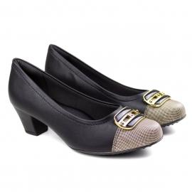 Sapato Salto Feminino Piccadilly - Preto/rafia