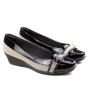 Sapato Anabela Feminino Piccadilly - Preto/rafia