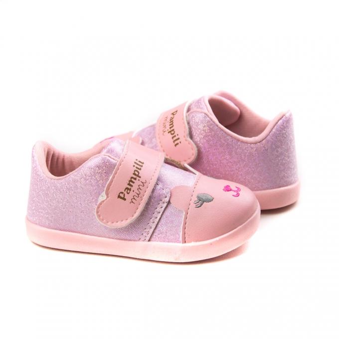 Tênis Feminino Bebê Pampili Pompom Gatinho - Lilac/rosa glace