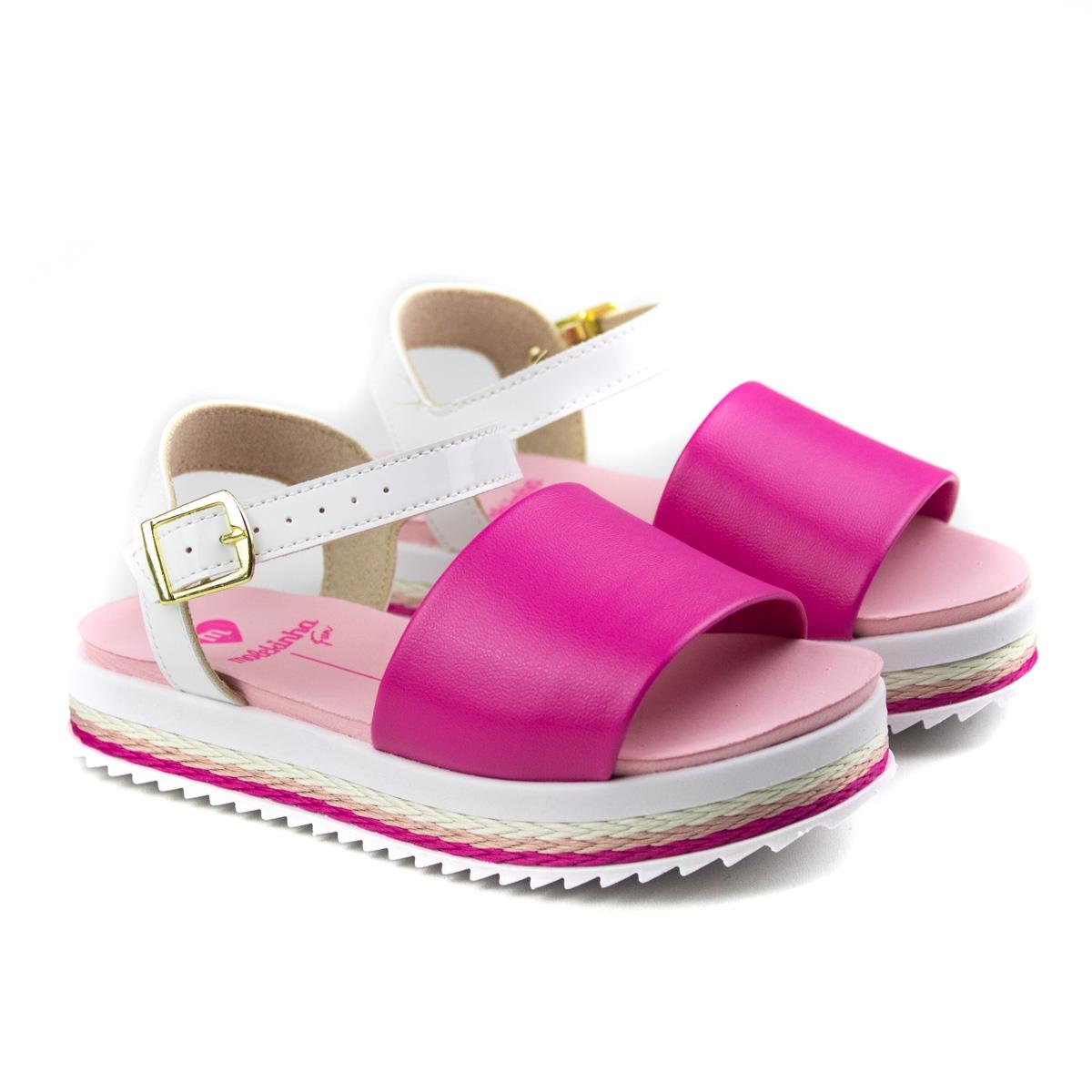 Sandália Infantil Feminina Molekinha Anabela - Pink/branco