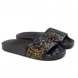 Tamanco Feminino Moleca Slide Gliter - Multi preto