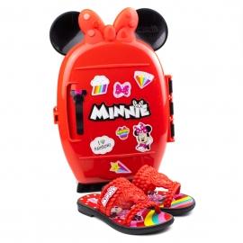 Tamanco Chinelo Infantil Feminino Grendene Minnie - Preto/vermelho