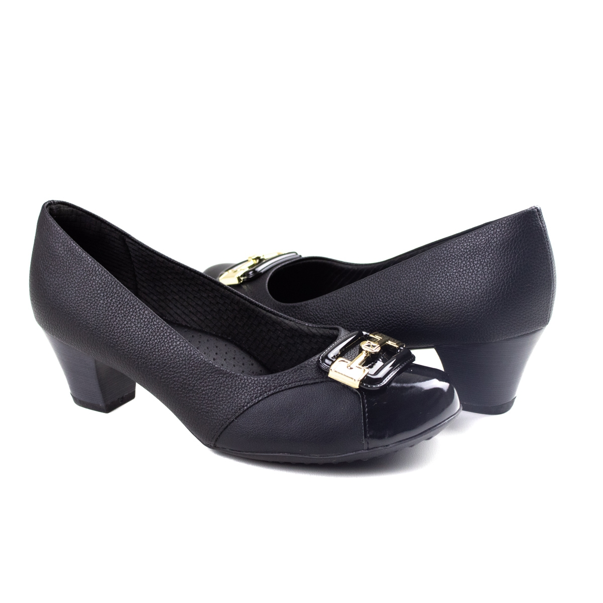 Sapato Salto Médio Feminino Piccadilly - Preto