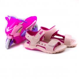 Sandália Infantil Feminina Kidy Wave Moto - Nude/pink