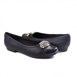 Sapato Salto Baixo Feminino Piccadilly - Preto